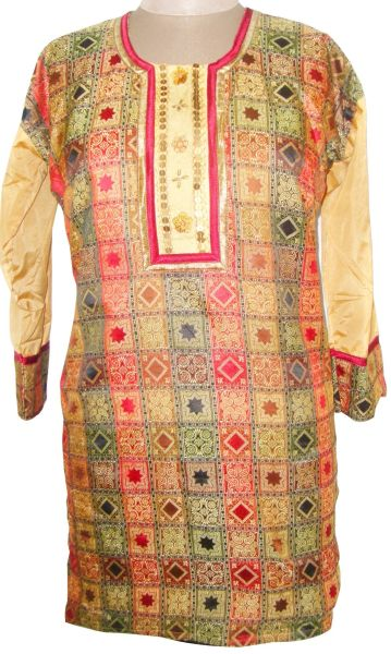 Multi Brown cotton Banarsi Jequard Kurta