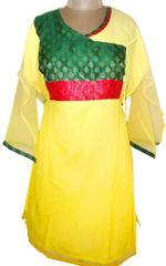 Light Yellow Chiffon Semi- Stitched Kurta