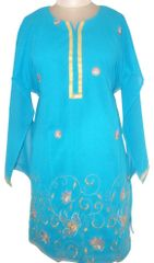 Blue Georgette with lining Semi Stitched Kurta (Plus Size_4XL)