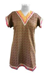 Brown Banarsi Jequard Semi Stitched Kurta (Plus Size_4XL)