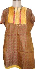 Brown Banarsi Jequard Semi Stitched Kurta (Plus Size_5XL)