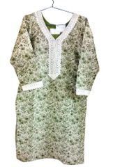 Light Green Cotton Banarsi Jequard Kurta