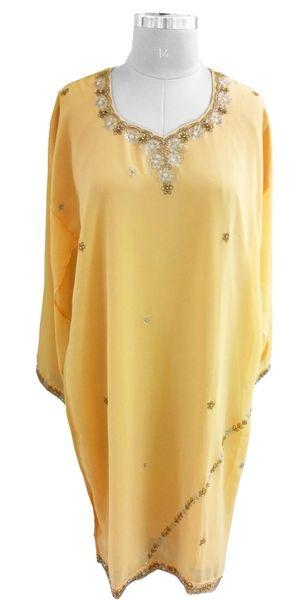 Yellow Chiffon with Lining Semi-Stitched Kurta