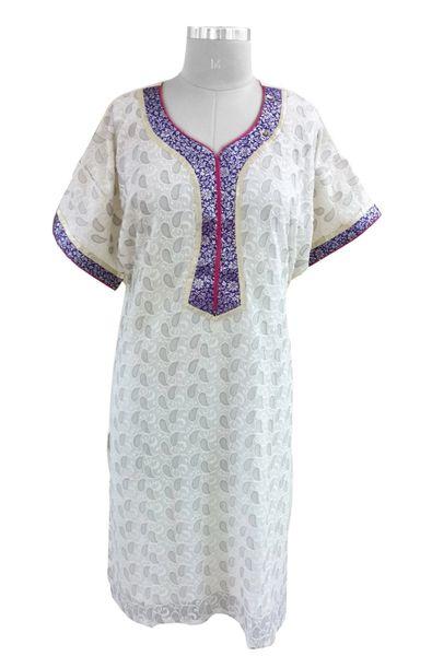 Off White Chiffon Embroidered With Lining Semi Stitched Kurta (Plus Size_2XL)
