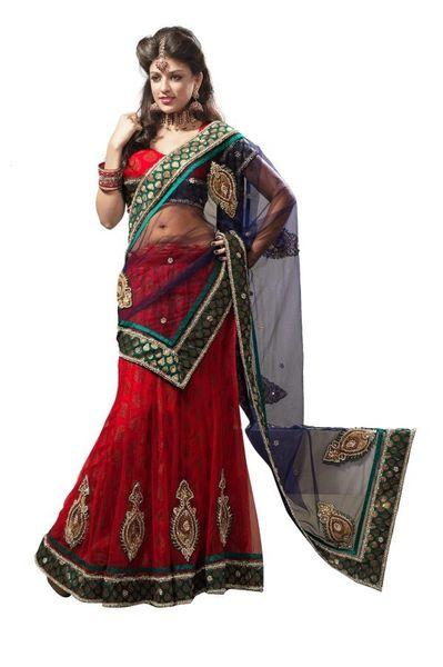 Bridal Red and Blue Net Lehenga Choli Dupatta Fabric Only LC175