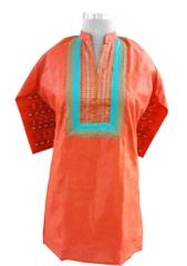 Orange Tussar Silk with Lining Kurta (Plus Size_3XL)
