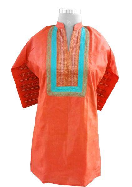 Orange Tussar Silk with Lining Kurta (Plus Size_3XL)