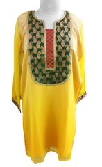 Yellow Shaded Chiffon With Lining Kurta