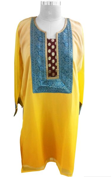 Yellow shaded Chiffon shaded Semi Stitched Kurta