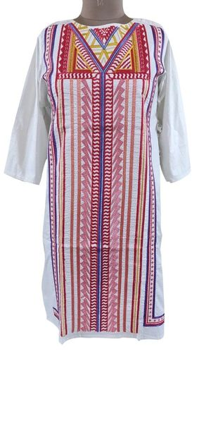 Designer Semi Stitched Off White Pakistani Embroidered Kurti Kurta Tunic PK10