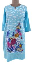 Designer Semi Stitched Light Blue Pakistani Embroidered Kurti Kurta Tunic PK09