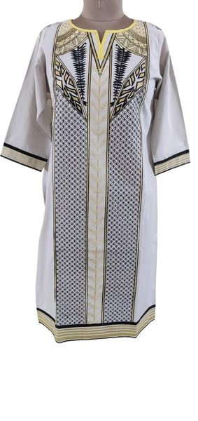 Designer Semi Stitched Off White Pakistani Embroidered Kurti Kurta Tunic PK05