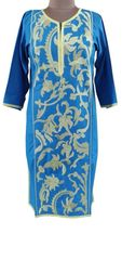 Designer Semi Stitched Blue Pakistani Embroidered Kurti Kurta Tunic PK04