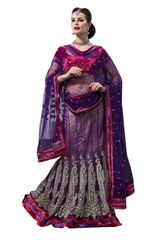 Purple Net Lehenga Choli Dupatta Fabric Only LC191