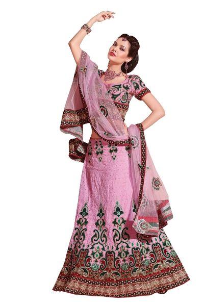 Pink Jequard Lehenga Choli Dupatta Fabric Only LC305