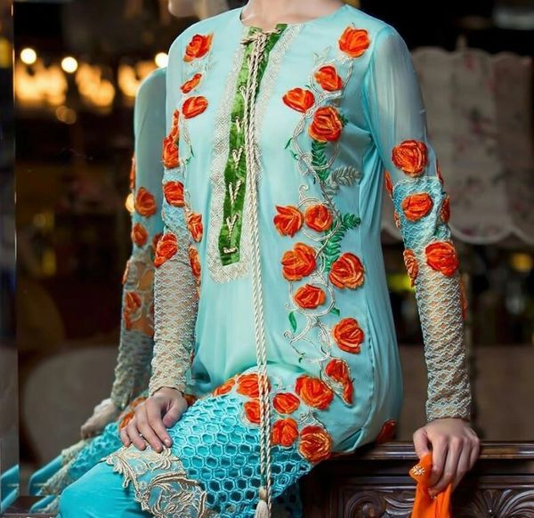 Designer Pakistani Replica Light Blue Georgette Dress Material Trouser Suit TM4004