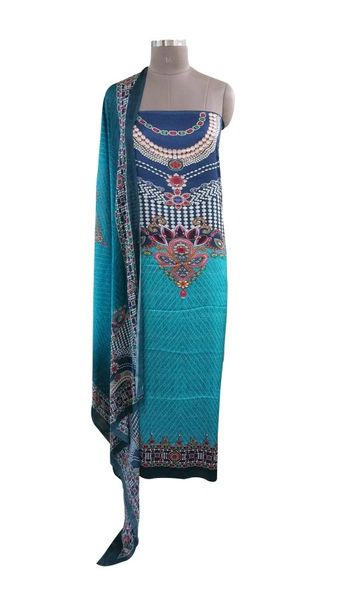 Designer Digital Printed Satin Kurta with Chiffon Dupatta Fabric Only Heer5703