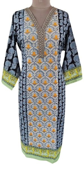 Designer Pakistani Mahi Zara Semi Stitched Embroidered Long Kurta Kurti ZS2A