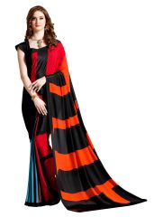 Multi Printed Crepe Saree (BLack_VAS7112B)