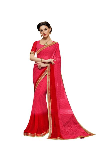 Lacer Printed Georgette Saree (Pink_SCT3282)