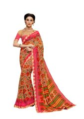 Lacer Printed Georgette Saree (Pink_SCT3283)