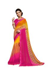 Lacer Printed Georgette Saree (Yellow_SCT3279)