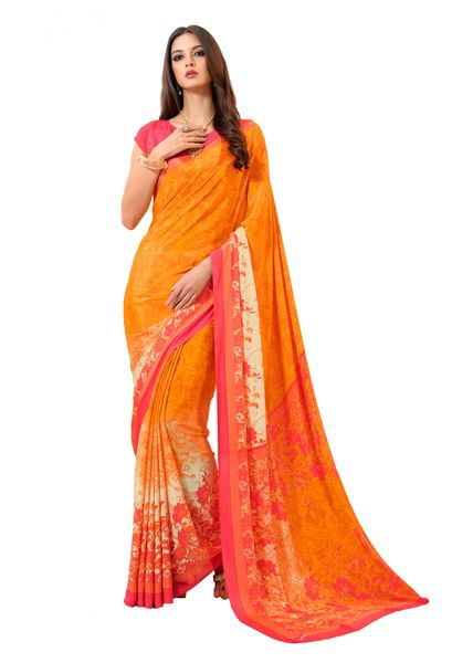 Floral Printed Crepe Saree (Orange_VAS7008B)