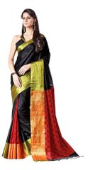Black Cotton Silk Zari Border Saree (Black-Lacey)