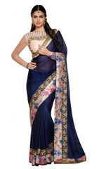 Satin Georgette Floral Border Saree (Blue_Ishaya)
