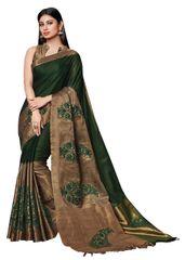 Soft Cotton Silk Embroidered Saree (Green_Asena)
