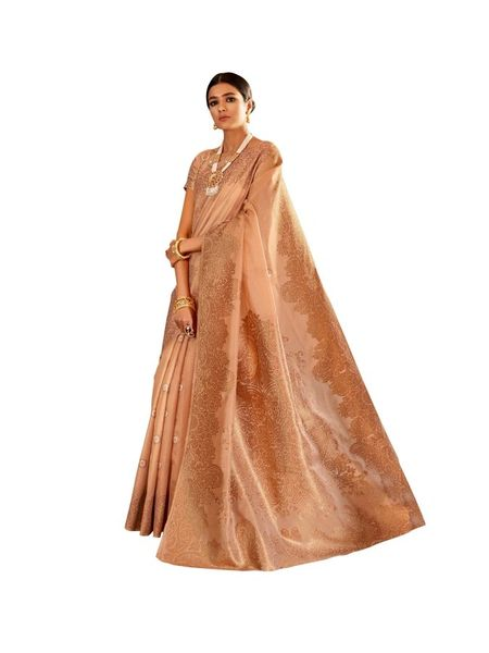 Soft Silk Handloom Weaven Saree (Brown_KS09)