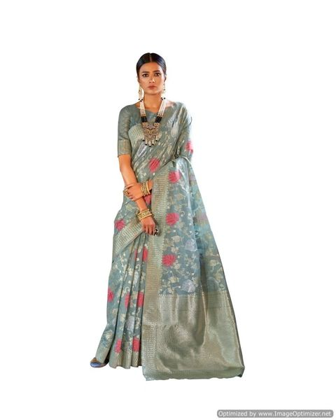 Soft Silk Handloom Weaven Saree (Gray_KS03)