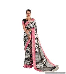 Abstract Printed Crepe Saree (Off White_KK17)