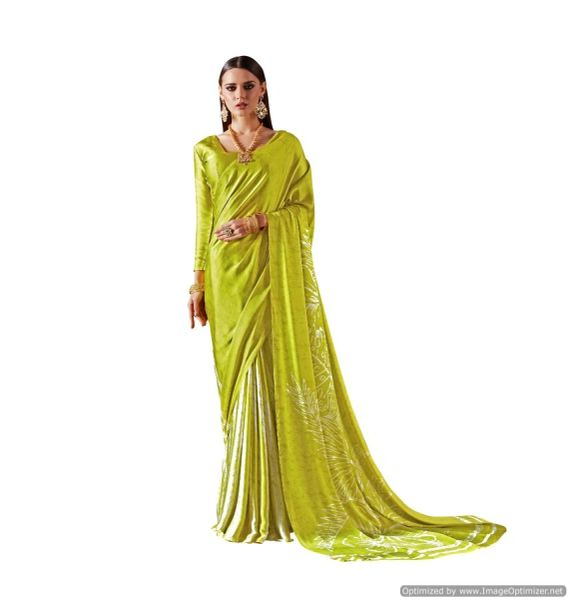 Abstract Printed Crepe Saree (Green_KK16)