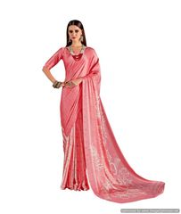 Abstract Printed Crepe Saree (Pink_KK15)