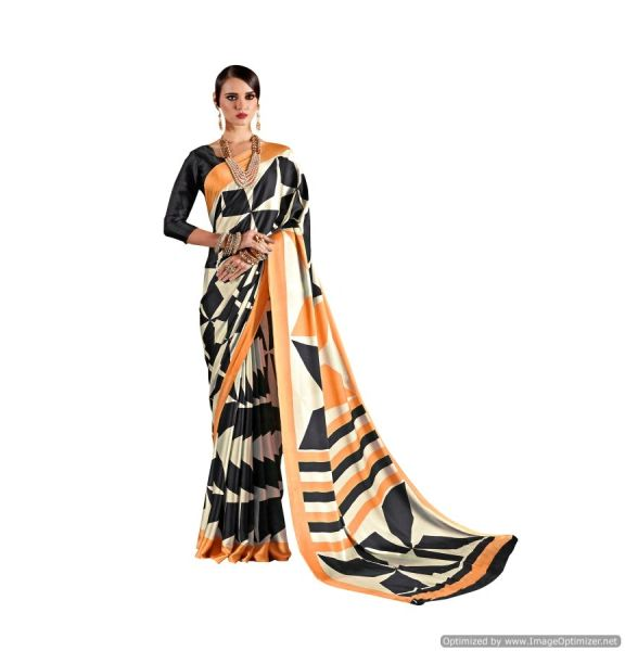 Abstract Printed Crepe Saree (Off White_KK14)