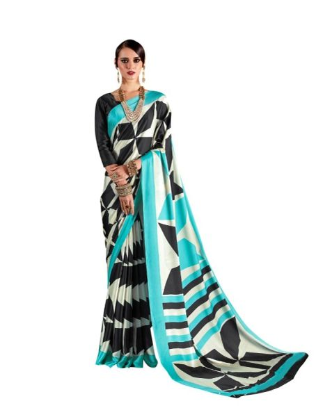 Abstract Printed Crepe Saree (Off White_KK13)