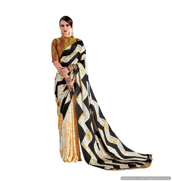 Abstract Printed Crepe Saree (Off White_KK8)