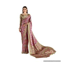Abstract Printed Crepe Saree (Pink_KK11)