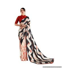 Abstract Printed Crepe Saree (Off White_KK7)