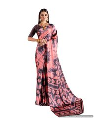 Abstract Printed Crepe Saree (Pink_KK5)