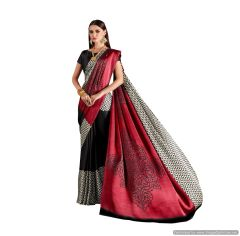 Abstract Printed Crepe Saree (Black_KK4)