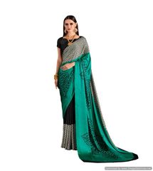 Abstract Printed Crepe Saree (Green_KK3)