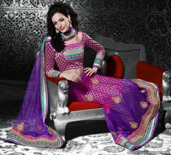 Purple Pink Net Lehenga Choli Dupatta Fabric Only SC517