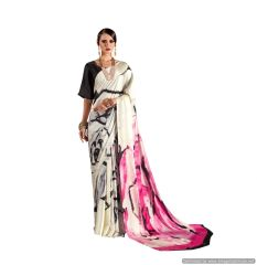 Abstract Printed Crepe Saree (Off White_KK2)
