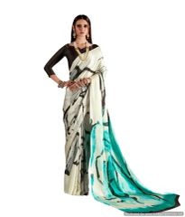 Abstract Printed Crepe Saree (Off White_KK1)