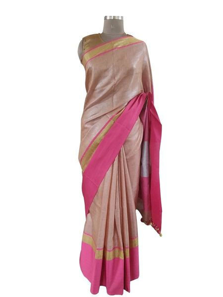 Gold Border Tissue Linen Cotton Saree (Coffee_BLS09)