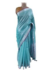 Silver Border Tissue Linen Cotton Striped Saree (Turquoise_BLS09)