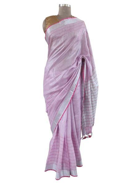 Silver Border Tissue Linen Cotton Striped Saree (Pink_BLS08)
