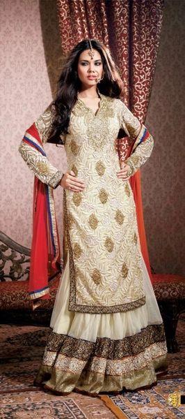 Semi Stitched Cream Net Long Twin Kurta Lehenga Choli Dupatta SC1516
